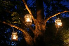 Mason jars with wire around top can be hung from trees with tea lite candles or battery operated votives at the campsite.