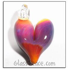 Glass Pendant Lampwork Heart Necklace boro focal bead - Glass Peace glass jewelry (5521)