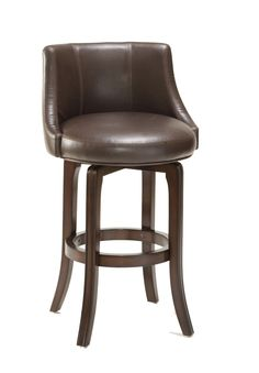 Hillsdale Napa Valley Swivel Counter Stool - Brown Leather. Hillsdale Furniture's Napa Valley Swivel Stool is the essence of transitional design with sturdy tapered legs and a fully-upholstered barrel style back. Constructed of solid wood with veneer and finished in a rich dark brown cherry, the Napa Valley is available in your choice of 4 fabrics. You can choose from sleek black vinyl, trendy brown leather, a soft textured khaki-hued fabric, or an antique brown fabric. These handsome stools…