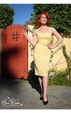 676d6872e48b6 Jayne 1960s Sheath Wiggle Dress in Pastel Yellow Sateen