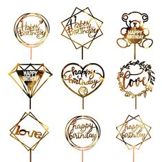 Golden Silvery Flash Cake Topper Party Supplies Acrylic Happy Birthday Cake Topper For Cupcake Birthday Party Decoration Flamingo Happy Birthday, Happy Birthday Cake Topper, Happy Birthday Parties, Birthday Party Decorations, Cupcake Birthday, Pink Birthday, Cake Decorations, Gold Cake Topper, Acrylic Cake Topper
