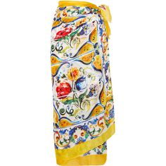 Dolce & Gabbana Printed cotton pareo ($425) ❤ liked on Polyvore featuring pastel yellow