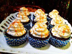 Caramel covered chocolate Oreo cupcakes