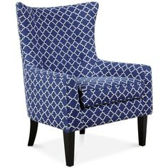 Brie Printed Fabric Accent Chair, Quick Ship (365 CAD) ❤ liked on Polyvore featuring home, furniture, chairs, accent chairs, lattice navy, upholstered chair, upholstery furniture, upholstered wing chair, navy blue upholstered chair and navy upholstered chair