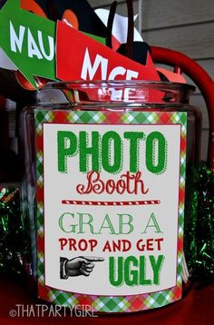 Ugly Sweater Party Photo Booth Props Taylor, here is an idea for you or your friends ugly sweater party ! Would be good for my upcoming ugly sweater party! Tacky Christmas Party, Tacky Christmas Sweater, Ugly Sweater Party, Noel Christmas, Christmas Photos, Company Christmas Party Ideas, Christmas Party Ideas For Adults, Christmas Party Ideas For Teens, Christmas Party Decorations Diy