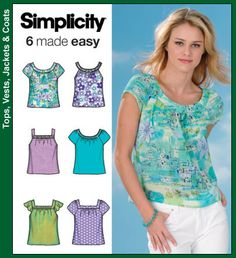 Sewing Top Simplicity 4589 from Simplicity patterns is a Misses' Tops sewing pattern - Tunic Sewing Patterns, Plus Size Sewing Patterns, New Look Patterns, Sewing Blouses, Simplicity Sewing Patterns, Blouse Patterns, Clothing Patterns, Vintage Patterns, Moda Mania