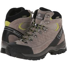 Scarpa Kailash GTX Lady (Taupe/Acid) Women's Hiking Boots (14.310 RUB) ❤ liked on Polyvore featuring shoes, athletic shoes, rugged shoes, taupe shoes, shock absorbing shoes, short heel shoes and low heel shoes