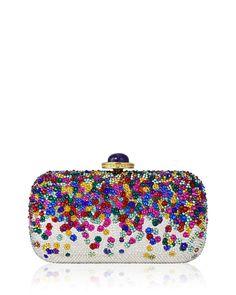 Judith Leiber Couture Soap Dish Confetti Crystal Clutch Bag, Champagne Rhinestone