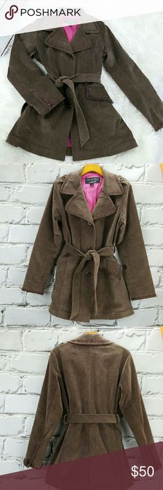 """💞SALE💞 London Fog Crushed Velvet Taupe Trench Fabulous  London Fog Town Collection Crushed Velvet Taupe with Pink Stich  Trench Coat. 96% Cotton 4% Spandex.   31"""" from the top of the shoulder to the bottom 24"""" Sleeve length 20"""" from armpit to armpit 17"""" across the shoulders London Fog Jackets & Coats Trench Coats"""