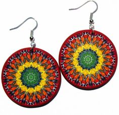 Multicolor dangles, colorful hippie earrings by JewelryByJolanta, $18.00