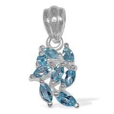 Edler 1,15 Carat Blautopas, Topas  Anhänger, 925 Silber, Kette, Collier, Rhod.