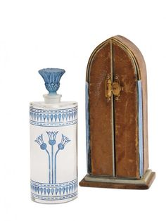 """1928 Baccarat for Edouardo """"Nuit Divine"""" (Divine Night), clear crystal perfume bottle and stopper, engraved Egyptian design, blue patina. Crystal Perfume Bottles, Antique Perfume Bottles, Vintage Bottles, Victorian Dollhouse, Perfume Making, Beautiful Perfume, Art Nouveau, Vase, Container"""