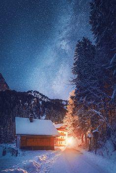 Night at Lake Gosau by Hendrik Mändla.... #landscape #lake #travel #night #austria #gosausee