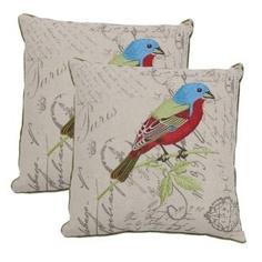 Conjunto Almofadas Bordadas Pássaros - 2 Peças