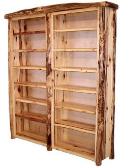This log furniture bookcase or shelving unit is handmade from natural wood aspen or cedar logs for cabin, lodge, mountain or camp decors in custom sizes. Rustic Log Furniture, Recycled Furniture, Wood Furniture, Furniture Design, Furniture Ideas, Furniture Cleaning, Western Furniture, Smart Furniture, Furniture Movers