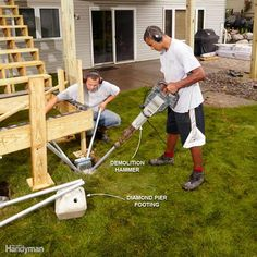 No-Dig Deck Footings - Some pros have given up constructing concrete deck…