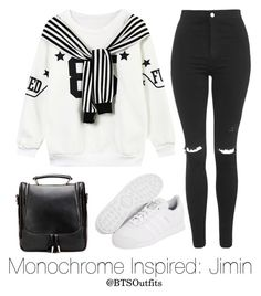 Monochrome Inspired: Jimin by btsoutfits on Polyvore featuring Chicnova Fashion, Topshop and adidas Originals