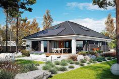 EX 11 (wersja C) soft - projekt domu - Archipelag Modern Bungalow House Plans, Modern Family House, Craftsman House Plans, Home Building Design, Home Design Plans, Building A House, Village House Design, Village Houses, Modern Tropical House