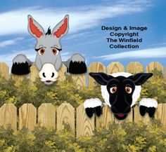 Donkey & Sheep Fence Peekers Wood Pattern