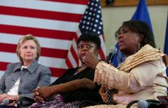 Democratic presidential candidate former Secretary of State Hillary Clinton talks with Kim Washington and Deborah Davis during the Hartford Gun Violence Prevention Discussion on April 20, 2016 in Hartford, Connecticut.