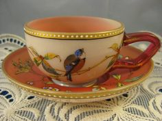 Antique Moser Pink Bird Florals Cup Saucer Hand Painted Jeweled Enamel