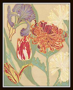 Art Nouveau Botanical Art Print Plate 122 8x10 Art Print Home Decor Arts and Crafts Era Prairie Style Mission Style Bungalow