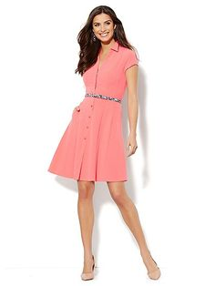 Short-Sleeve Shirtdress - New York & Company