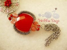 Red for prosperity - wire wrap pendant