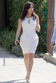 Kim K sleek and sexy in white