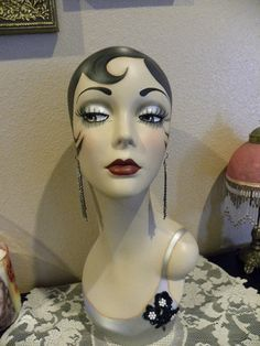 Vintage Style Art Deco Flapper Mannequin Head/ by sharonsherrod, $199.99