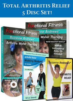Arthritis Joint Pain Relief DVD Set/Water Exercise/Stretching for arthritis/Walking program for arthritis/rheumatoid arthritis video/osteoarthritis exercise, arthritis dvd, functional fitness arthritis exercises to ease joint pain. Rheumatoid Arthritis Diet, Juvenile Arthritis, Arthritis Exercises, Arthritis Relief, Pain Relief, Arthritis Symptoms, Hip Pain, Knee Pain