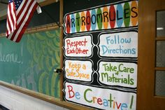 I love that these classroom rules are so big! Classroom Posters, Classroom Design, Classroom Displays, Classroom Rules, Classroom Ideas, Classroom Procedures, Classroom Organization, Organizing, Middle School Art