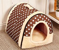 Winter Warm FOLDABLE NonSlip Outdoor Pet Kennel Cozy Dog House Cat Sofa Puppy Bed M 45x35x32cm Coffee Dot >>> Check out this great product.