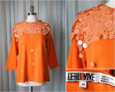 vtg 80s L'eru Vive orange paillette sequin jersey medium