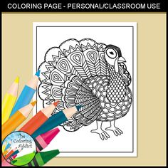 Zentangle Turkey Coloring Page 2