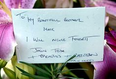 The card left by half-brother Jason Moran the grave of Mark Anthony Moran Cole at Fawkner Cemetery.