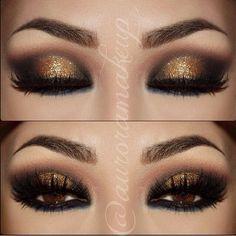 Gold glitter makeup eyes