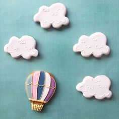Hot air balloon iced biscuits, follow our instagram for more of our original biscuit designs!