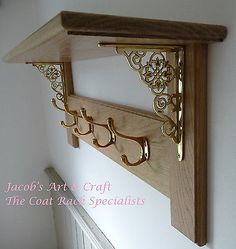 Vintage Style Solid Oak Coat Rack with Shelf – Brass Collection
