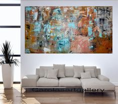 """Original Abstract Painting  Large Painting Palette Knife Acrylic Painting  Modern Art Handmade by Carola, 48""""x24"""""""