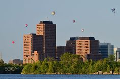 Balloons over Gatineau - Balloons over Gatineau, Canada. Willis Tower, Seattle Skyline, Looking Up, Balloons, Canada, Architecture, Building, Travel, Arquitetura