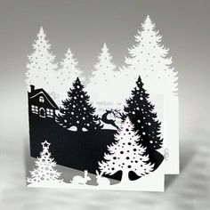 Christmas card from Biznesowe Kartki Swiateczne . Z fold in cascading layers . laser cut tress with a house and reindeer on the middle layer . 40 Extremely Creative Examples Of Kirigami Art: A Hobby To Adopt - Page 2 of 3 - Bored Art I've been googling my Kirigami, Pop Up Cards, Xmas Cards, Holiday Cards, Handmade Christmas, Christmas Crafts, Christmas Paper, Christmas Tree, Paper Art