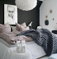 Love he charcoal blanket! Pretty Bedroom, Dream Bedroom, Home Bedroom, Girls Bedroom, Master Bedroom, Bedroom Decor, Charcoal Bedroom, Bedroom Styles, New Room