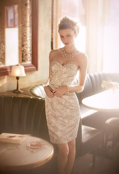 Printed #lace brings chic appeal to this ultra-feminine #bridesmaid dress! Style F15596 #davidsbridal #aislestyle