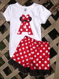 Minnie Mouse initial outfit by GetStitchedByAnna on Etsy, $30.00