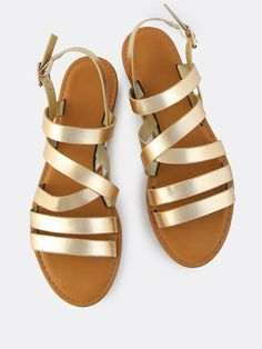 Shop Metallic Multi Strap Flat Sandals GOLD online. SheIn offers Metallic Multi Strap Flat Sandals GOLD & more to fit your fashionable needs.