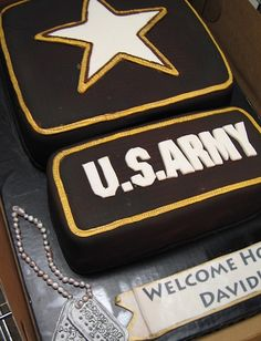 Army welcome home cake