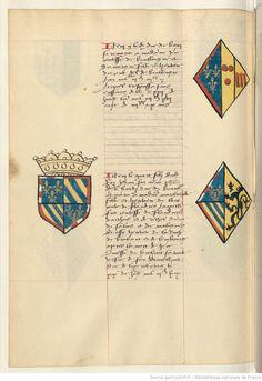 Coat of arms of Philip II, Duke of Burgundy and of Margaret III, Countess of Flanders. Receuil de la généalogie de la noble maison de Luxembourg.