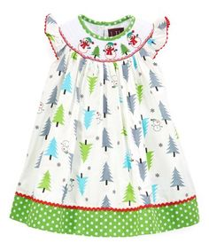 Love this White & Green Tree Smocked Bishop Dress - Infant, Toddler & Girls on #zulily! #zulilyfinds