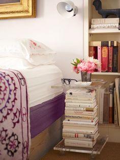 Bookish Bedside Table via Brit + Co.